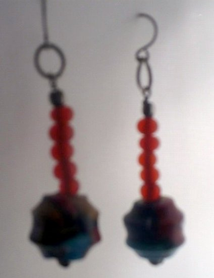 earings made with multi colored glass beads