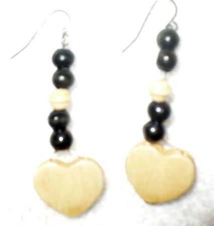 wooden heart earrings natural finish
