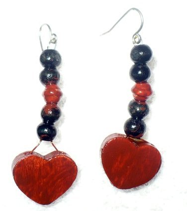red and black heart shaped wooden  earrings