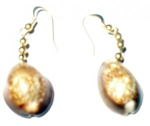 cowrie shell earrings with brass beads