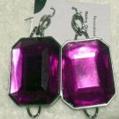 Large purple  rectangular glass earrings