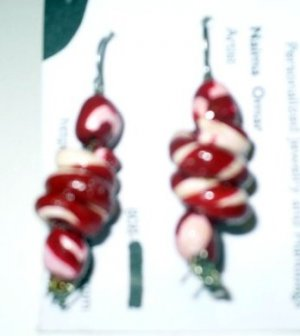 red and white polymer earrings