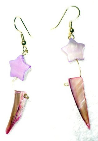purple shell earrings with star design