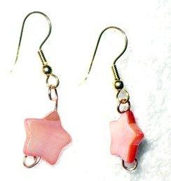 pink star shell earrings