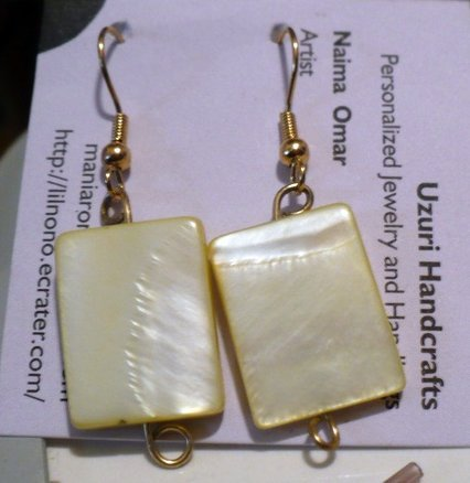 pastel yellow rectangular shell earrings