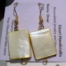 pastel yellow rectangular shell earrings