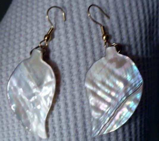 leaf shaped sea shell earrings
