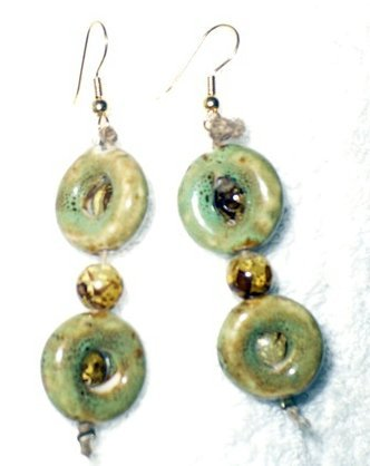 earrings made of stone beads