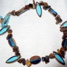anklet made with tiger eye and glass beads