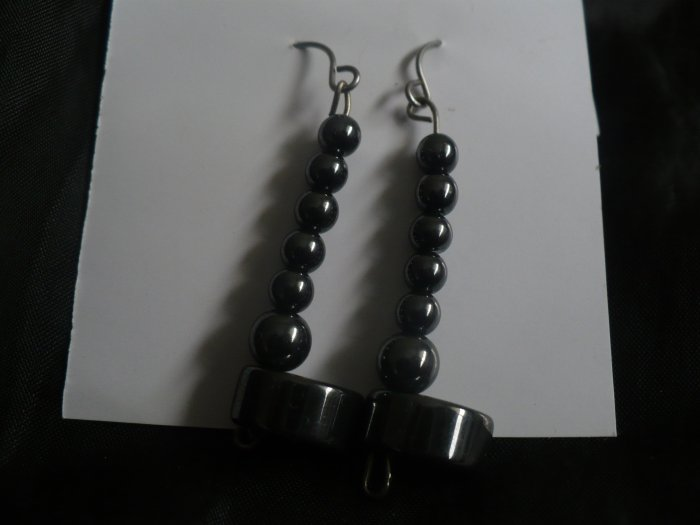 earrings made of hematite beads