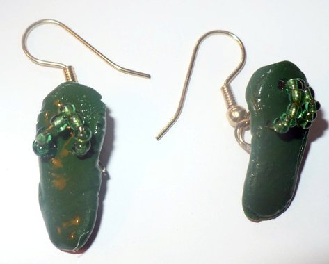 Cute green flip flop earrings