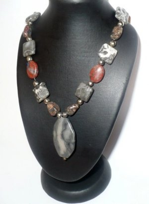 Jasper necklace with silver accents