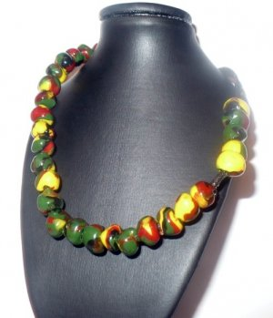 adjustable necklace made with colorful polymer beads