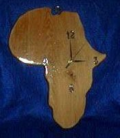 Wooden clock shaped like Africa