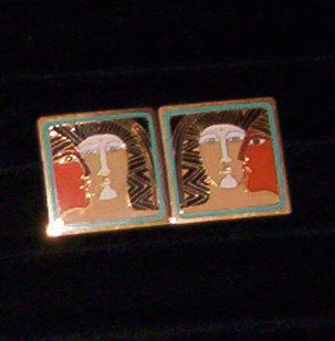 "Laurel Burch ""Ancient Ancestors""  Pierced Earrings"