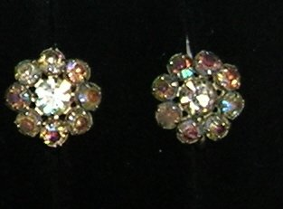 Aurora Borealis Rhinestone Screw on Earrings
