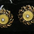 Vintage Cathe Clip on Earrings Pale Yellow Enamel