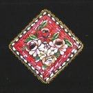 Vintage Square  Micro Mosaic Brooch  Raised Floral Design