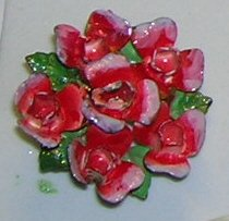 Vintage Red Floral Bouquet Scatter Pin