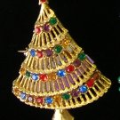 JJ Christmas Tree Rhinestone  Brooch / Pin