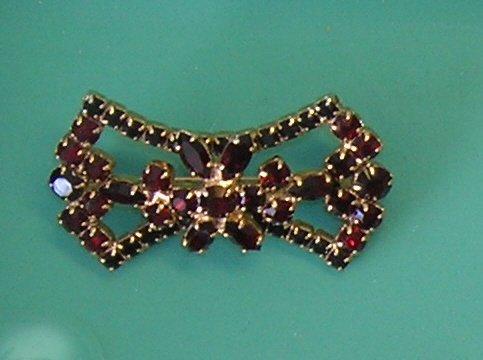 Vintage Red Rhinestone Bowtie Brooch / Pin