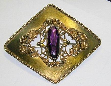 Antique Amethyst GP Fillagree Brooch  Sash Pin c1890