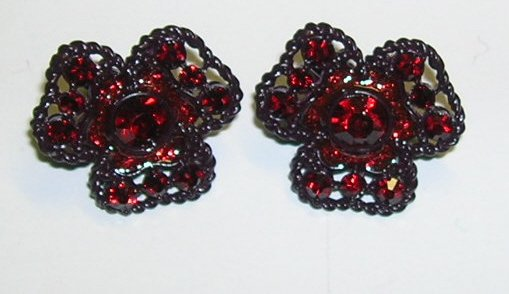 Vintage Red Rhinestone Clip on Earrings