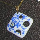 Vintage Enamel on Copper Square Pendant on GF Chain