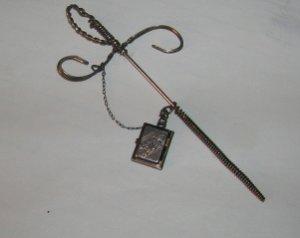 Vintage Sliver Sword Hat Ornament with Sterling Locket