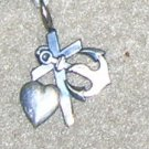 Sterling Cross, Anchor, and Heart Charm