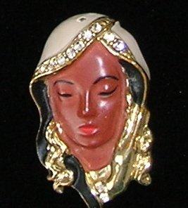 Vintage Veiled Lady Rhinestone Figural  Brooch / Pin