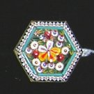 Vintage Hexagon Micro Mosaic Brooch  Floral - Italy