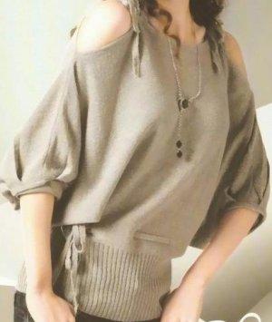 Metallic grey detailed knit top - One size
