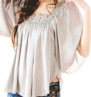 Tunic style with embroidery blouse - One size - Also available in black and light yellow