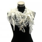 Exquisite lace scarf shawl with ribbon detailing