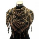 Trendy houdstooth pattern square shawl scarf with fringe