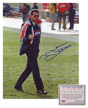 Mike Ditka Autographed Team Medallion Flipping The Bird Photograph - 8 x 10