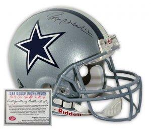 Roger Staubach Autographed Helmet - Mini Replica