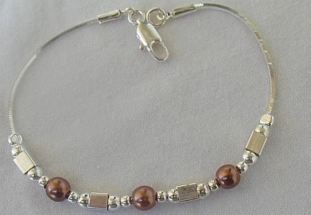 Brown pearls with silver bracelet