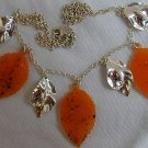 Orange morano leaves necklace