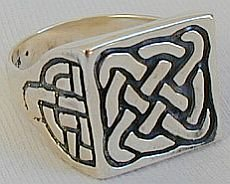 Silver lines man ring