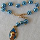 Blue shiny mini Rosary