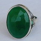 Green agate-silver ring-C