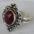 ZV-Red agate silver ring