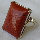 Brown-red agate silver ring