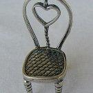 Heart chair silver miniature