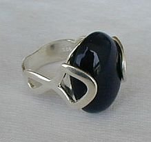 Black and silver ring-A