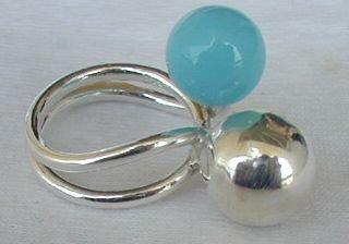 Turquoise silver pearls ring