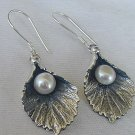 Silver pearl earrings-B