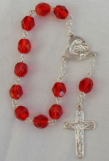 Mini red glass rosary
